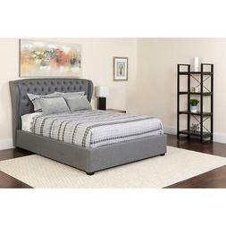 Barletta Tufted Upholstered Full Size Platform Bed in Light