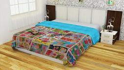 Indian Handmade Floral Patchwork Kantha Quilt Blanket Beddin