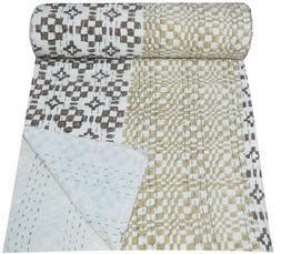 Indian Hand Block Print Kantha Quilt Bedding Bedspread Blank
