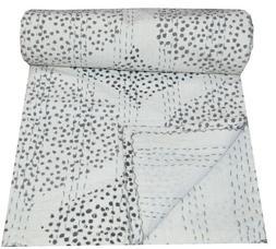 Indian Hand Block Print Twin Kantha Quilt Reversible Bedding