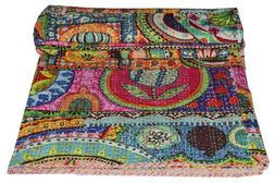 Indian Handmade Twin Cotton Kantha Quilt Throw Blanket Vinta