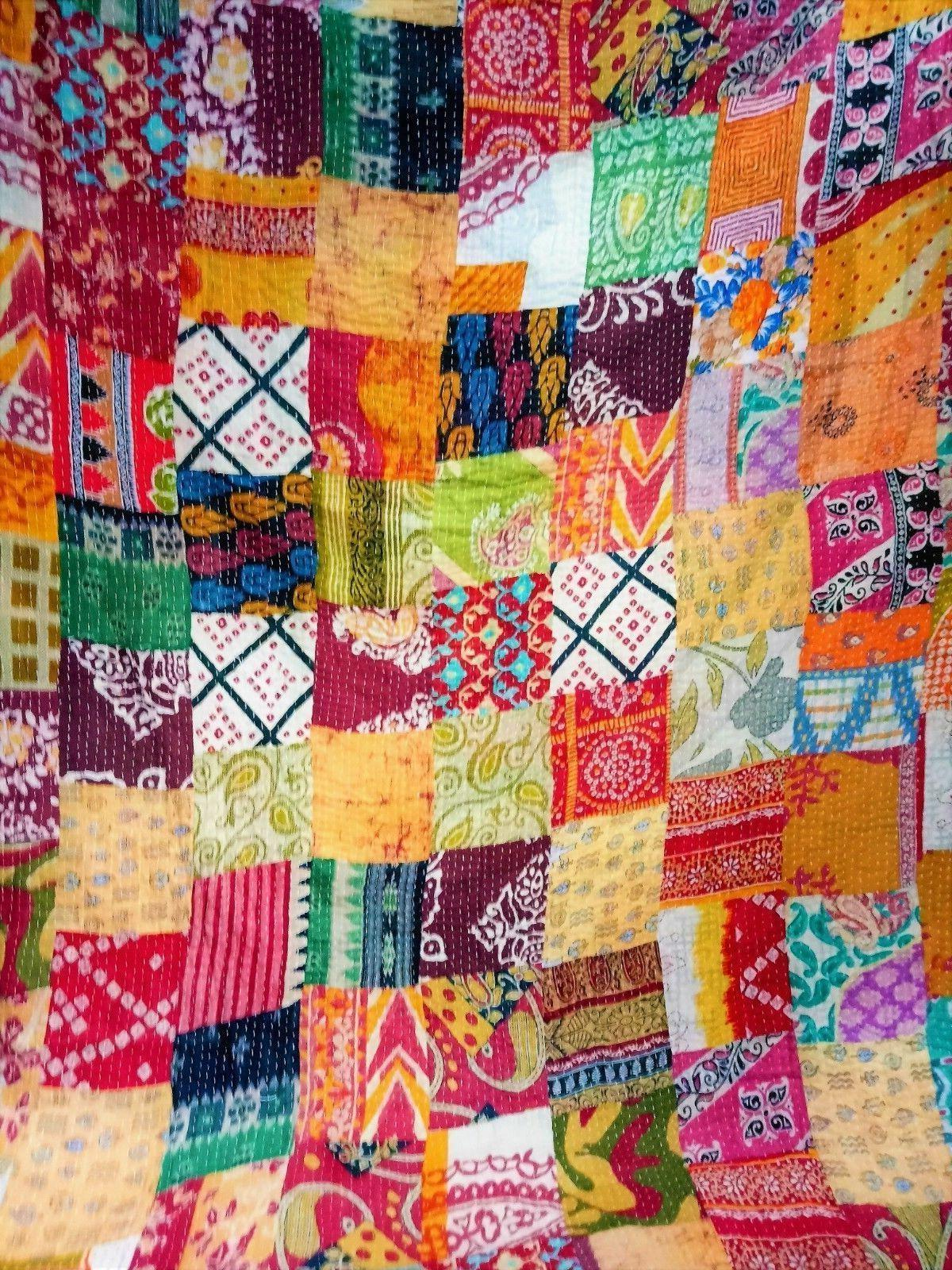 Indian Handmade Quilt Vintage Kantha Bedspread Throw Cotton