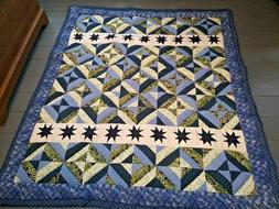 Handmade Navy Blue Quilt White Green Twin Size with Stars So