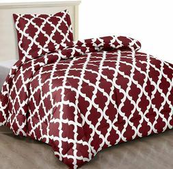 Printed Comforter Set with 2 Pillow Shams Brushed Microfiber