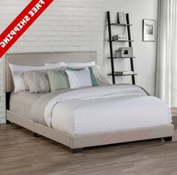 Queen Size Bed Frame Upholstered Headboard Platform Wood Fra