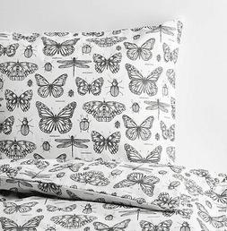 Ikea SOMMARMALVA King Duvet Cover w/2 Pillowcases Bed Set Wh