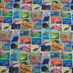 TROPICAL MARINE LIFE FISHES POSTAGE STAMPS BLUE 100% COTTON