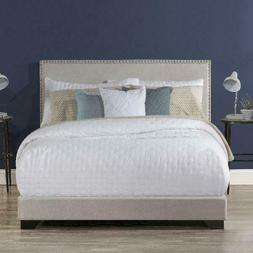 Willow Nailhead Trim Upholstered Queen Bed, Fog, by Hillsdal