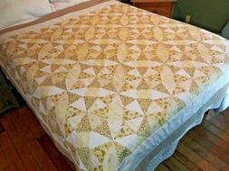 Handmade Yellow + White Queen Size Quilt Taupe Hand Embroide